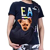 TOMKAS Small Dog Cat Carrier Adjuastable Sling Hands-Free Pet Puppy Outdoor Travel Bag Tote Reversible (Black-Adjustable)