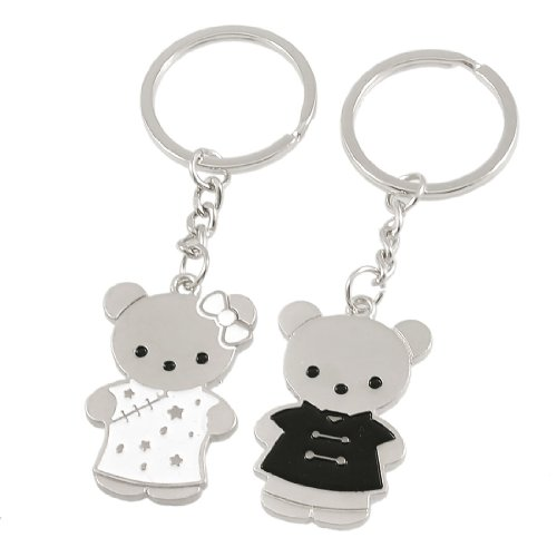 Dressed Bear Shape Dangling Lovers Keychain Key Holder