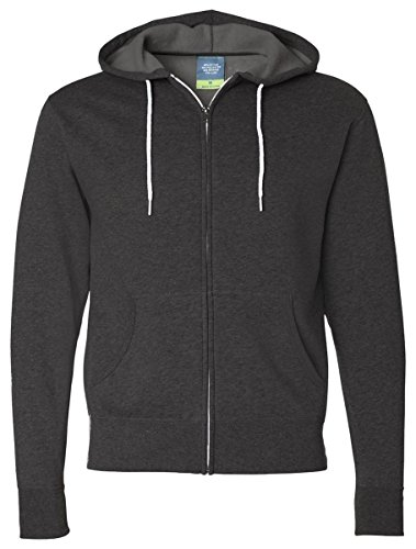 Independent Trading Co. Unisex Full Zip Hooded Sweatshirt, Charcoal Heather, Small
