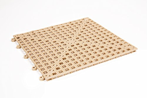 Dri-Dek Dog & Cat Kennel Cage Liner, Veterinarian or Groomer Flooring – 1'x1′ Interlocking Tiles – 12-Pack (Almond) For Sale