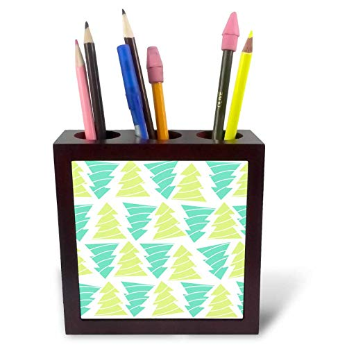 3dRose Anne Marie Baugh - Christmas - Contemporary Green and Aqua Upside and Upside Down Christmas Trees - 5 inch Tile Pen Holder (ph_318516_1)