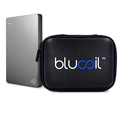Seagate Backup Plus Slim 1TB Portable External Hard Drive for Mac -INCLUDES- Blucoil Hard Drive Case - VALUE BUNDLE
