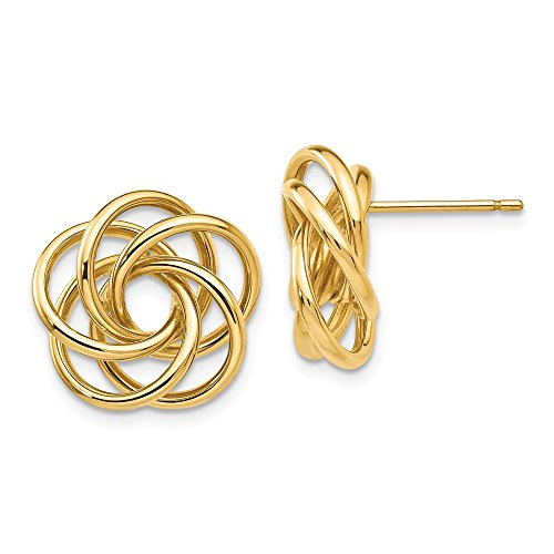 14kt Yellow Gold Polished Love Knot Post Earrings by Perfume4All (Image #5)
