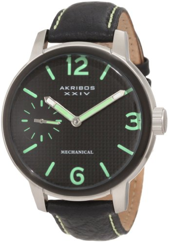 Akribos XXIV Men's AK495GN Essential Mechanical Leather Strap Watch, Watch Central