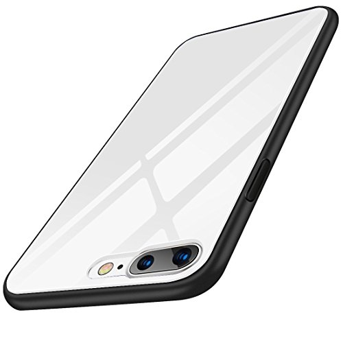 White Series Glass 180 (iPhone 8 Plus Case, iPhone 7 Plus Case, Humixx [Crystal Series] White Tempered Glass Back and TPU Shock Absorption Bumper Full Protective Case for iPhone 7 Plus/iPhone 8 Plus)