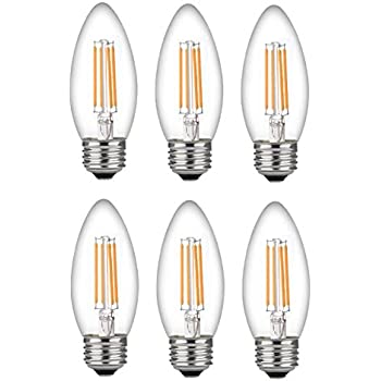 Bioluz LED 60 Watt Candelabra Bulbs Medium Base, Candelabra Bulbs, Dimmable Filament Clear 60 Watt LED Bulbs (Uses only 4.5 watts), E26 Base, ...