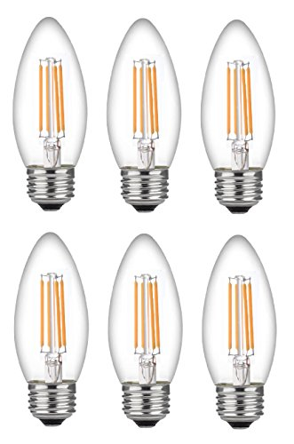 Bioluz LED 60 Watt Candelabra Bulbs Medium Base, Candelabra Bulbs, Dimmable Filament Clear 60 Watt LED Bulbs (Uses only 4.5 watts), E26 Base, C37 LED Filament Candle Bulbs, Pack of 6
