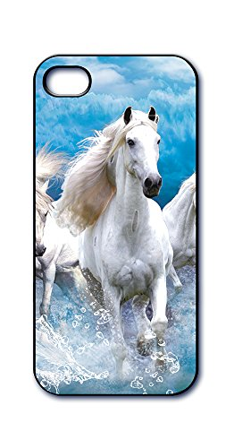 (Dimension 9 Slim 3D Lenticular Cell Phone Case for Apple iPhone 5 or iPhone 5s - White Horse in Ocean)