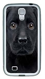 Black Labrador Puppy TPU Silicone Case Cover for Samsung Galaxy S4/I9500 ¡§C White