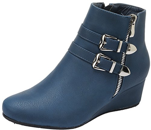 Dream Pairs New Women's GHILE Fashion Casual Double Buckle Straps Side Zipper Platform Wedge Heel Shoes Booties DARK BLUE-SZ-9