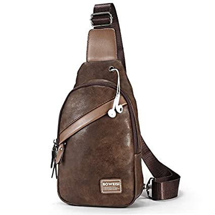 6650f4d984 WSZMD Multifunctional Backpack Bag Men s Casual PU Leather Chest Bag  Multifunction Outdoor Sports Crossbody Bag Fashion
