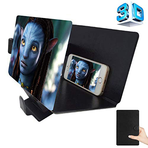 3D Screen Magnifier for Cell Phone, HD Mobile Phone Screen Enlarger Movies Video Amplifier Foldable Amplifying Desktop Leather Bracket Holder Stand for for iPhone Samsung Any Smart Phones