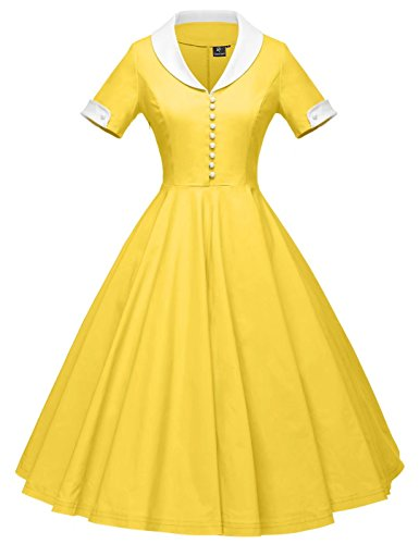GownTown Womens 1950s Cape Collar Vintage Swing Stretchy Dresses, Yellow, XX-Large]()