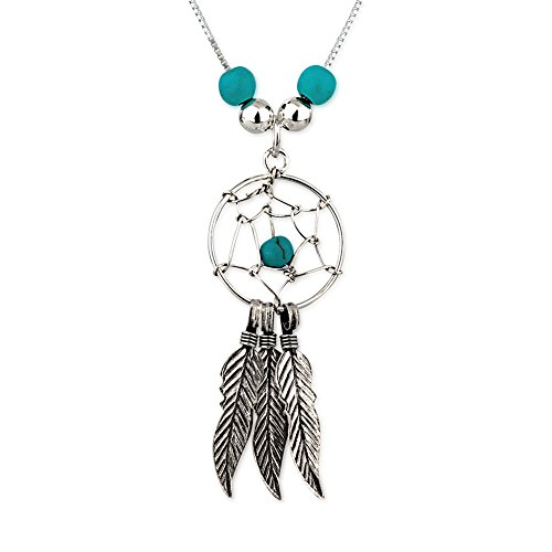925 Sterling Silver Bead Decorated Dream Catcher w/ Feather Charms Pendant Necklace, 16-17 inches