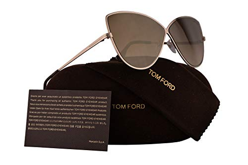 (Tom Ford FT0569 Elise-02 Sunglasses Shiny Rose Gold w/Brown Mirror Lens 65mm 28G TF569 TF 569 FT569 FT 569)