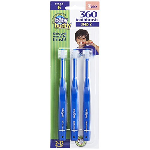Baby Buddy 360 Toothbrush Step 2 Stage 6 for Ages 2-12 Years, Kids Love Them, Royal, 3 Count