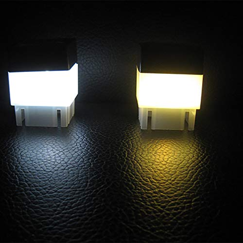 Gotian Solar Powered Outdoor LED Square Fence Light Garden Landscape Post Automatically Turn on and Off Deck Lamp (Yellow) ()