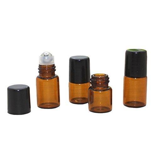 (25 Pcs Essential Oil Glass Roller Bottles Mini Tiny Refillable Empty Aromatherapy Perfume Liquid Amber Glass Roll On Bottles Vials Metal Rollerball Bottles Jar)