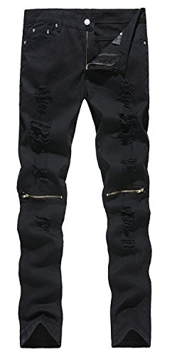 ZhouYCHEN Mens Biker Skinny Fit Ripped Distressed Destroyed Holes Jeans Zipper On Knees
