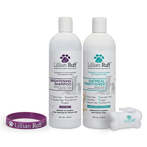 41aqCpFTnOL - Lillian Ruff Dog Shampoo Conditioner Set - Coconut Brightening Shampoo & Soothing Lavender Coconut Oatmeal Conditioner - Tear Free with Aloe for Normal, Dry & Sensitive Skin (16 oz.)