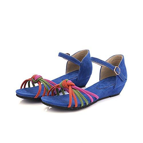 AllhqFashion Mujeres Colores Surtidos Hebilla Puntera Abierta Mini Tacón Sandalia de Cuña Azul