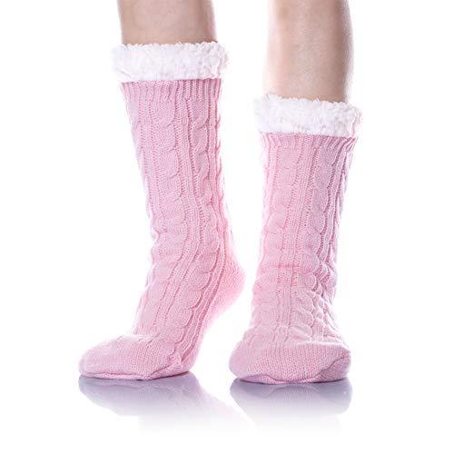 DoSmart Women's Super Soft Warm Stockings Knit Winter Fuzzy Fleece Lined Home Slipper Christmas Socks (Pink) (Lined Size Plus Stockings)
