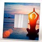 Relax Yoga Meditation Ocean Beach Wall Framed Mirror Printed Design Fan Art Home Room Decor Gift