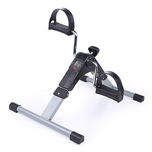 Folding Pedal Exerciser, AGM Medical Digital Under Desk Bike Foot Cycle Arm & Leg Peddler Machine by AGM