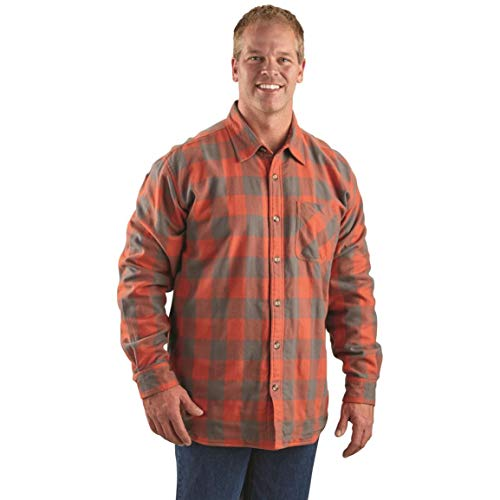 Guide Gear Men's Thermal Lined Flannel Shirt, Dark Orange/Gray Buffalo Plaid, 2XL