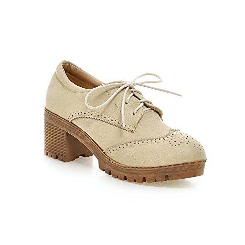 Amoonyfashion Womens Pu Solid Lace-up Tacco Chiuso Scarpe-tacco A Spillo-scarpe Con Archi Beige