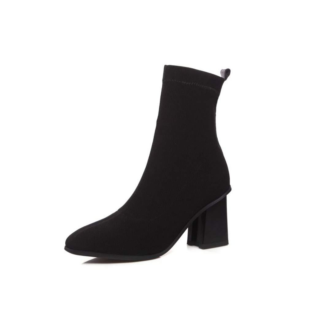 Frauen Martin Stiefel gestrickt hochhackige dick mit quadratischen Kopf Stiefel Set Fußfarbe passenden Stiefeletten Herbst und Winter schwarz 37EU