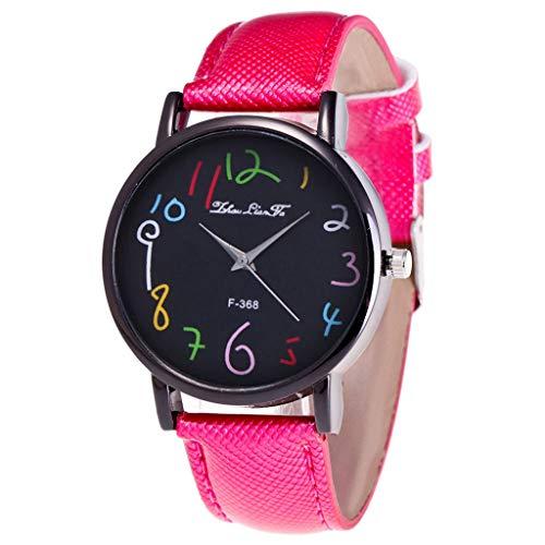 (Wrist Watches for Women Under 5 ❤ Fashion Casual Ladies Watch Glass Mirror Leather Strap Quartz Watch)