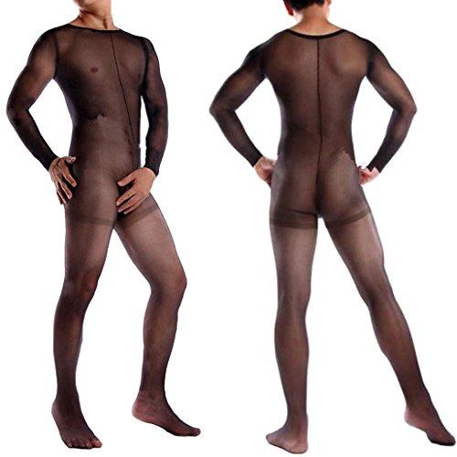 Mens Adult Stocking Full Body Ultra-thin Pantyhose Transparent Novelty Sexy (Black)