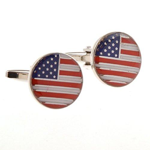 MRCUFF Presentation Gift Box American Flag USA America Round Pair Cufflinks & Polishing Cloth