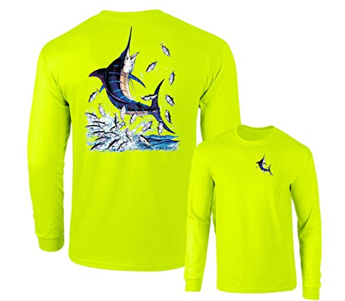 (Blue Marlin Out of Wate & little fishes Fishing Long Sleeve Tee,Safety green,L)