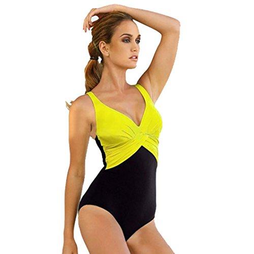 Mujeres en Bikini, Ularma Mujer bikini conjunto de traje de baño push-up acolchado traje de baño ropa de playa Amarillo
