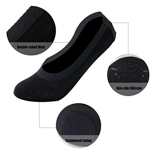 Artiff Women's No Show Low Cut Cotton Nylon Boat Hidden Invisible Liner Non Slip Socks 4 Pairs Black