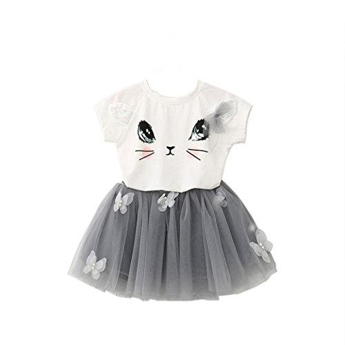 (Dresses Girl, Kids Girls Cat Pattern Shirt Top Butterfly Tutu Skirt Set Clothing (6-7Years,)