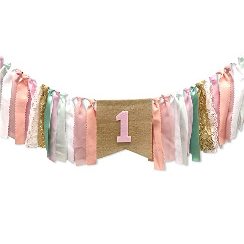 WINGOFFLY First Birthday Burlap Highchair Banner Bunting 1st Happy Birthday Party Decorations Set for Baby, Pink Green