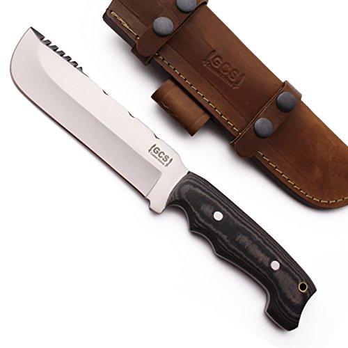 GCS Custom Handmade Black & White Micarta Handle D2 Tool Steel Buffalo Hide Sheath 127 (Handle Black Custom)