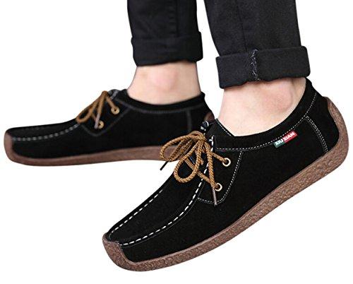 XIUXIAN Xiu Xian Frauen Schnecke Casual Lace-up Echtes Leder Flache Sneaker Schuhe Schwarz