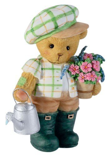 Cherished Teddies Boy Holding Flowers and Watering Can