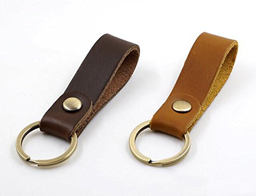 - Jzcky Shzrp Leather Valet Key Chain Key Ring,Brown and Dark Brown,2-Pack
