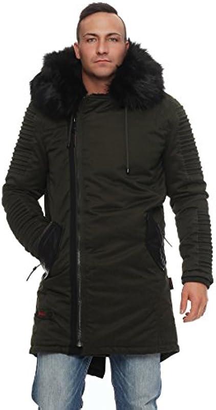 Marikoo Osaka męska kurtka zimowa długa parka płaszcz pluszowy z ciepłą podszewką S - XXXL: Odzież