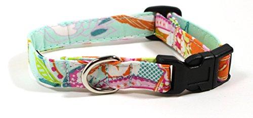 Ruff Roxy Petal and Plume, Designer Cotton Dog Collar, Adjustable Handmade Fabric Collars (XS, Black)
