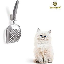 Cat Litter Scoop with Wall Holder by SunGrow - Stainless Steel Sifter with Deep Poop Scooper - Anti Scatter Sides - Non Stick - Keep Kitty Litter Clean