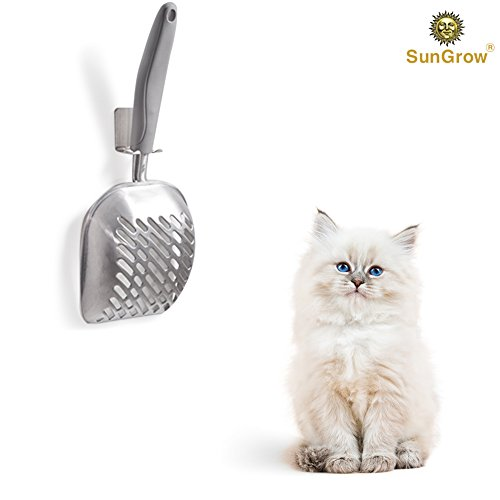 Stainless Steel Litter Boxes (SunGrow Cat Litter Scoop with Wall Holder by Stainless Steel Sifter with Deep Poop Scooper - Anti Scatter Sides - Non Stick - Keep Kitty Litter Clean)