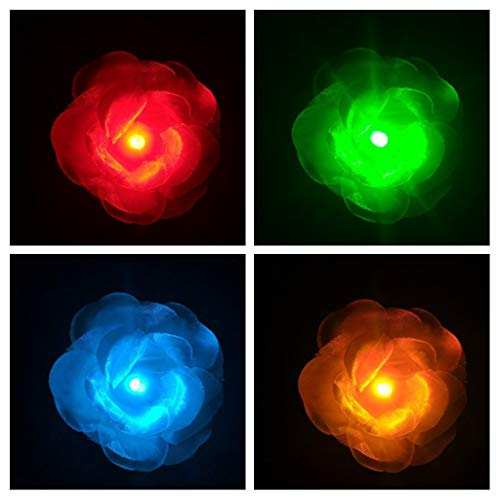LED Light up Flower Clip for Hair - Rose - Glow in the Dark Party Favor, LED Hair Hairpin, Flashing LED Light-up Toys, Barrettes for Party, Bar Dancing Clip, Light up Hair Accessories]()