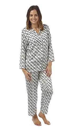 Damas Satén Seda Set Pijama manga larga sedoso Verano Pijama Impresión Negro