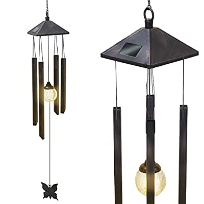 Sorbus Wind Chimes Solar Powered Color Changing LED Glass Ball, Great for Patio, Lawn, Garden, and Terrace - Musical Wind Chime Outdoor Home Decoration